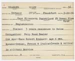 Alien Registration Card- Krahmer, Wolff (Cape Elizabeth, Cumberland County)