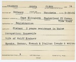 Alien Registration Card- Krahmer, Herta C. (Cape Elizabeth, Cumberland County)