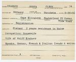 Alien Registration Card- Krahmer, Herta C. (Cape Elizabeth, Cumberland County) by Herta C. Krahmer (Clemm)