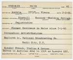 Alien Registration Card- Kreisler, Fritz (Blue Hill, Hancock County)