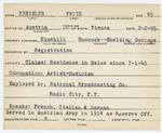 Alien Registration Card- Kreisler, Fritz (Blue Hill, Hancock County) by Fritz Kreisler