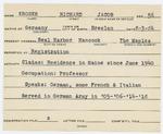 Alien Registration Card- Kroner, Richard Jacob (Mount Desert, Hancock County) by Richard Jacob Kroner