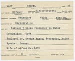 Alien Registration Card- Lant, Isabel (Searsport, Waldo County)