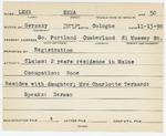 Alien Registration Card- Lehr, Emma (South Portland, Cumberland County) by Emma Lehr