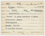 Alien Registration Card- Lehto, Altti A. (Warren, Knox County)