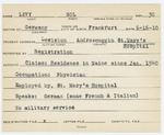 Alien Registration Card- Levy, Sol (Lewiston, Androscoggin County)