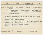 Alien Registration Card- Levy, Erika (Lewiston, Androscoggin County)