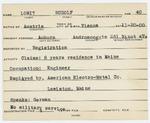 Alien Registration Card- Lowit, Rudolf (Auburn, Androscoggin County)