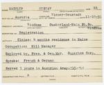 Alien Registration Card- Machlup, Gustav (Windham, Cumberland County) by Gustav Machlup
