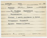 Alien Registration Card- Machtup, Olga (Windham, Cumberland County) by Olga Machtup