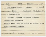 Alien Registratio Card- Masur, Lore L. (Orono, Penobscot County)