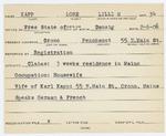 Alien Registratio Card- Masur, Lore L. (Orono, Penobscot County) by Lore L. Masur (Kapp)
