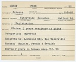 Alien Registration Card- Mehne, Fred (Waterville, Kennebec County)