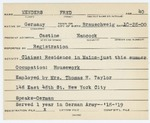 Alien Registration Card- Menders, Fred (Castine, Hancock County) by Fred Menders
