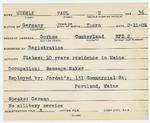 Alien Registration Card- Muehle, Paul V. (Gorham, Cumberland County) by Paul V. Muehle