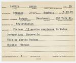 Alien Registration Card- Nachum, Hanna (Bangor, Penobscot County)