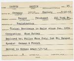 Alien Registration Card- Nachum, Martin (Bangor, Penobscot County)