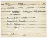 Alien Registration Card- Neiss, Edmund (Portland, Cumberland County) by Edmund Neiss
