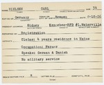 Alien Registration Card- Nielsen, Carl W. (Sidney, Kennebec County)