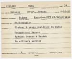 Alien Registration Card- Nielsen, Carl W. (Sidney, Kennebec County) by Carl W. Nielsen