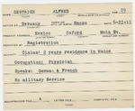 Alien Registration Card- Oestrich, Alfred (Mexico, Oxford County) by Alfred Oestrich