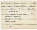 Alien Registration Card- Oestrich, Babette (Mexico, Oxford County)