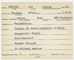 Alien Registration Card- Ohtonen, Joe V. (Warren, Knox County)
