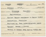 Alien Registration Card- Palmer, Herbert J. (Belgrade, Kennebec County) by Herbert J. Palmer