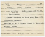Alien Registration Card- Papanek-Papen, Leo (Lewiston, Androscoggin County)