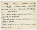 Alien Registration Card- Papen, Alice (Lewiston, Androscoggin County)