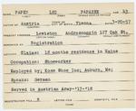 Alien Registration Card- Papen, Alice (Lewiston, Androscoggin County)