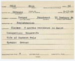 Alien Registration Card- Pels, Ella (Bangor, Penobscot County)