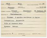 Alien Registration Card- Pels, Ella (Bangor, Penobscot County) by Ella Pels