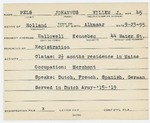 Alien Registration Card- Pels, Johannus Willem Jacubus (Hallowell, Kennebec County)