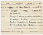 Alien Registration Card- Pels, Johannus Willem Jacubus (Hallowell, Kennebec County) by Johannus Willem Jacubus Pels