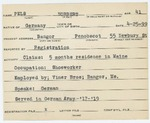 Alien Registration Card- Pels, Norbert (Bangor, Penobscot County) by Norbert Pels