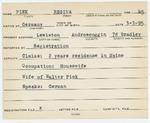 Alien Registration Card- Pick, Regina (Lewiston, Androscoggin County)