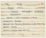 Alien Registration Card- Pick, Walter (Lewiston, Androscoggin County) by Walter Pick