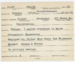 Alien Registration Card- Plaut, Julius (Bangor, Penobscot County)