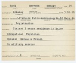 Alien Registration Card- Rowe, Gunther H. (Livermore Falls, Androscoggin County)