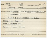 Alien Registration Card- Rowe, Ilse (Livermore Falls, Androscoggin County)