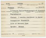 Alien Registration Card- Rowe, Martha (Livermore Falls, Androscoggin County)