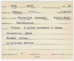 Alien Registration Card- Rued, Anton (Waterville, Kennebec County)