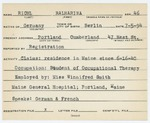 Alien Registration Card-  Ruhl, Katharina (Portland, Cumberland County)