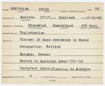 Alien Registration Card- Schindler, Iguay (Brunswick, Cumberland County)
