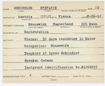 Alien Registration Card- Schindler, Stefanie (Brunswick, Cumberland County)