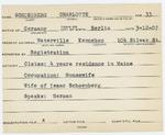Alien Registration Card- Schoenberg, Charlotte (Waterville, Kennebec County)
