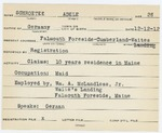 Alien Registration Card- Schroeter, Adele (Portland, Cumberland County)