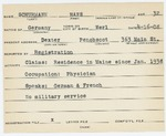 Alien Registration Card- Schurmann, Hans (Dexter, Penobscot County)