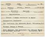 Alien Registration Card- Siegel, Carl L. (Brooklin, Hancock County)